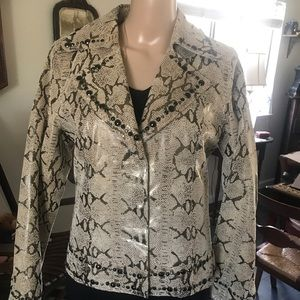 EUC Pamela McCoy Snake Skin Studded Leather Jacket